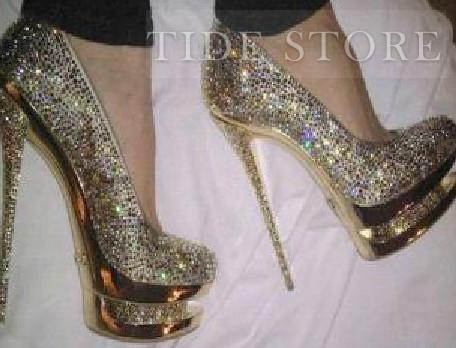 Pretty Eeropean Style Shining Closed Toe Stiletto Heels Prom Shoes : tidestore.com