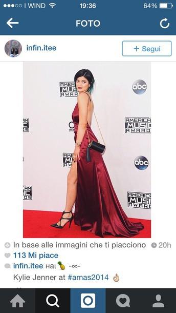 burgundy long sleeveless dress