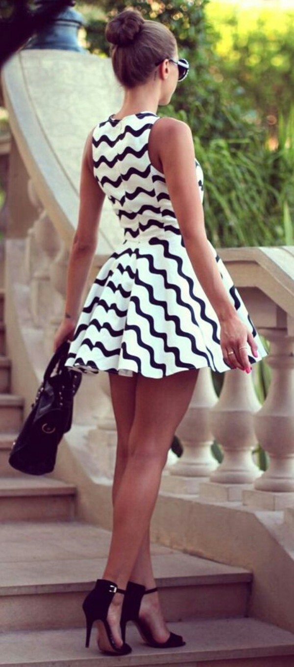 dress shoes white/black monochrome black and white pattern skater dress graduation dress black and white dress black dress bag chevron dresses fit and flare dress stripes black and white