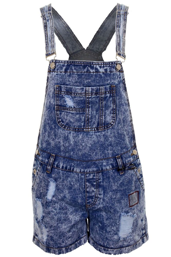 Ladies Acid Wash Faded Denim Bib Smart Ripped Effect Women's Short Dungaree | eBay