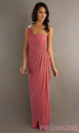 One Shoulder Prom Gown, Cheap Long Formal Dress- PromGirl