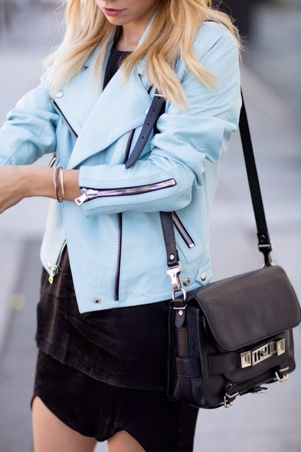 jacket light blue leather jacket blue zip