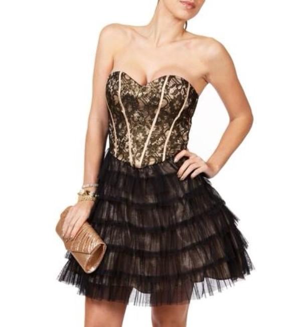 dress gold dress corset black gold