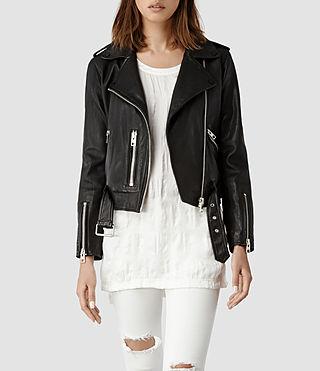Womens Balfern Leather Biker Jacket (Black)   ALLSAINTS.com