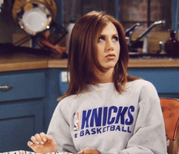 sweater jennifer aniston friends TV show basketball wives grey sweater jennifer aniston knicks sweater