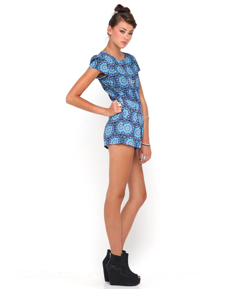 Buy Motel Hoppy Cap Sleeve Playsuit in Mandala Print at Motel Rocks