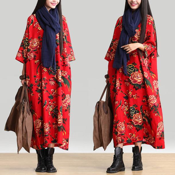 dress cotton dress.. linen dress print dress long dress robe