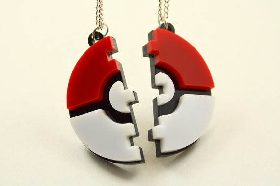 Pokeball Friendship Necklaces - Laser Cut Acrylic – LicketyCut