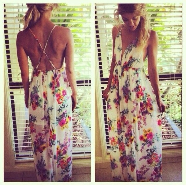 dress floral hippie boho maxi floral maxi dress summer dress sundress white dress colorful dress crossback gorgeous