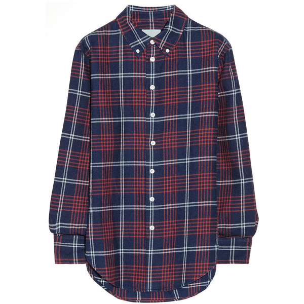 Band of Outsiders Plaid cotton-flannel boyfriend shirt - Polyvore