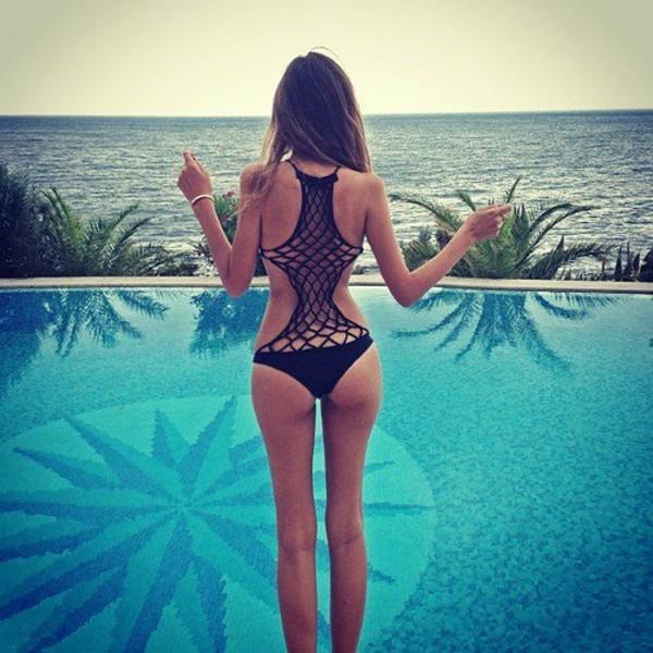 swimwear sexy pool dope swimwear net pool party black swimwear pool black bikini mesh net
