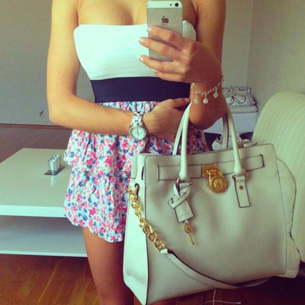 dress summer vintage indie hipster pink blue white white dress bag floral floral bandeau top floral dress michael kors bag