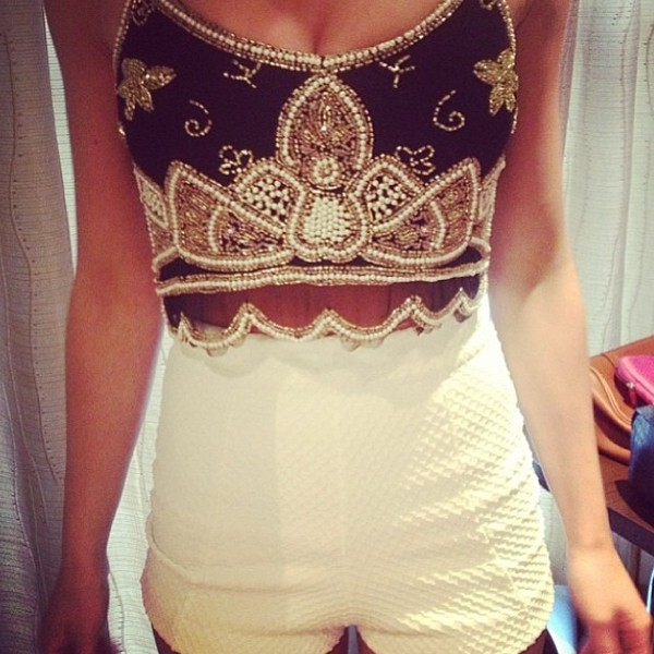 shirt blue crop top white crop tops glitter pearl gold shorts tank top embellished top