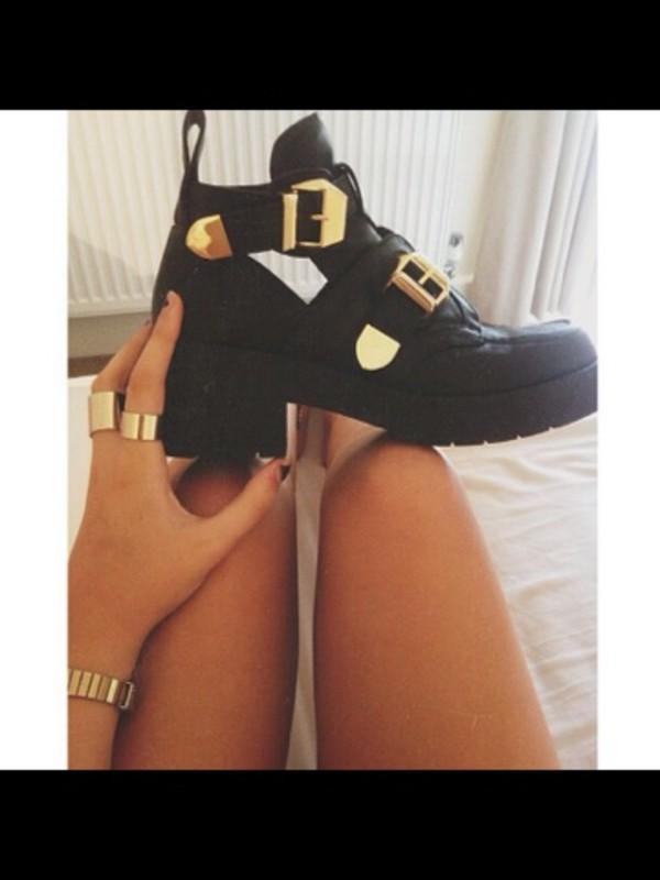 shoes black gold heel open shoes tumblr