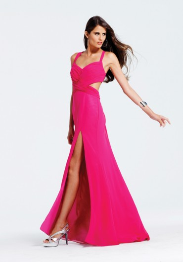 SALE! Faviana 2012 Prom Dresses - Passion Berry Ruched Chiffon Selena Gomez Inspired Prom Dress
