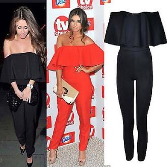 pants combinaison jumpsuit black fashion red dress trendy pants
