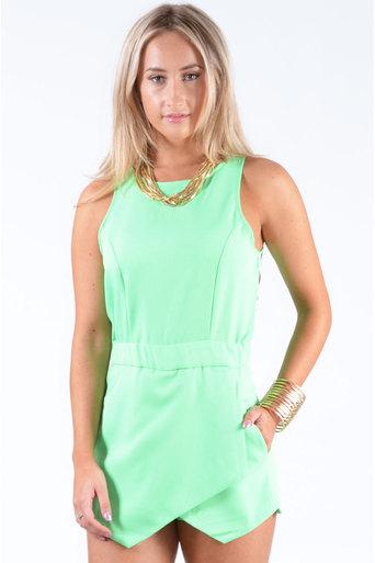 Ladies Kendon Skort Playsuit In Green at Pop Couture UK