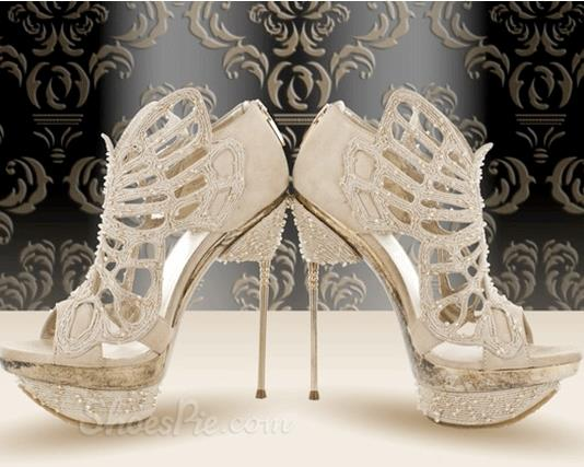 Gorgeous White Coppy Leather Cut-Outs High Heel Sandals