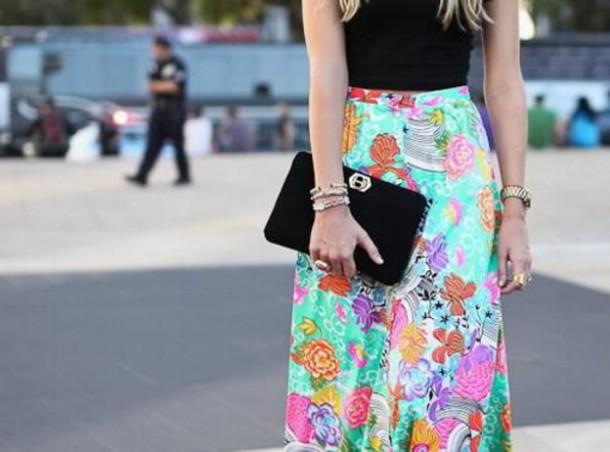 skirt maxi skirt teal floral floral skirt