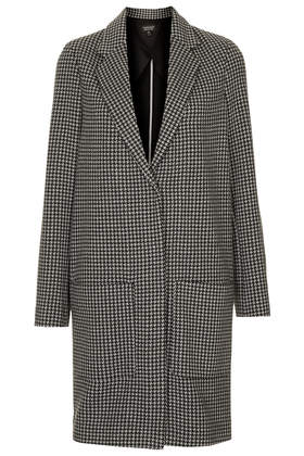Dogtooth Printed Throw On Coat - Jackets & Coats  - Clothing  - Topshop