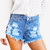 Distressed Stone Daisy Shorts | RUNWAYDREAMZ