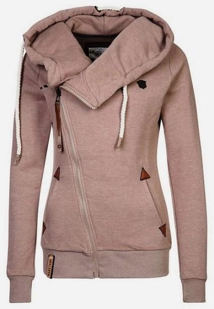 jacket hoodie camel warm women stylish naketano coat pink side zip side zip hoodie