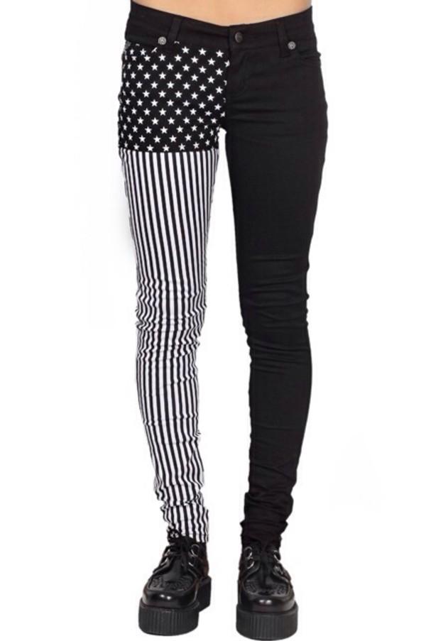 jeans punk black black jeans alternative rock stars stripes