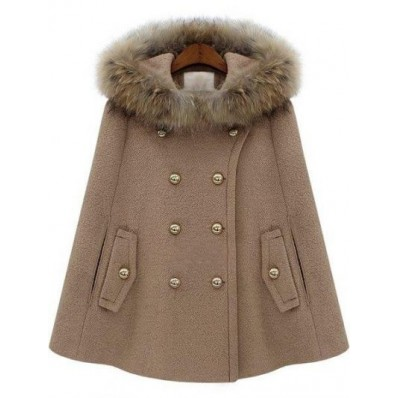 Camel Fur Hooded Double Breasted Pockets Cape Coat