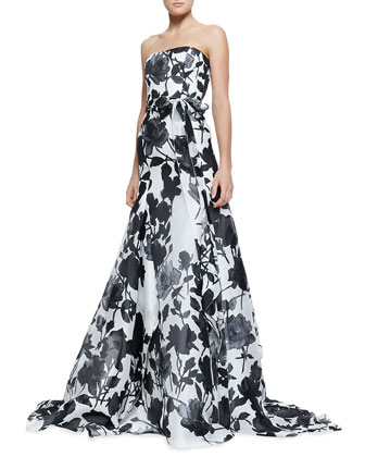 Carolina Herrera Strapless Belted Rose-Print Ball Gown