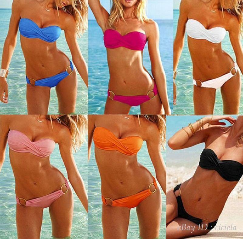 2pcs Women New Sexy Swimsuit Padded Top Set Strapless Bikini Swimwear Size s M L | eBay
