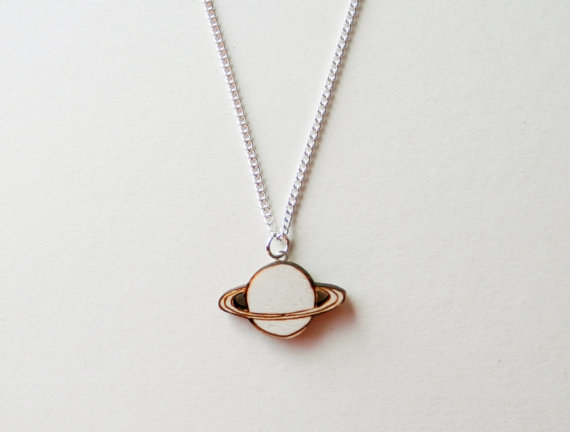 Wooden Saturn Necklace by kateslittlestore on Etsy