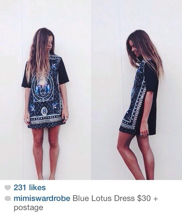 dress lotus pretty aztec shirt oversized blue black