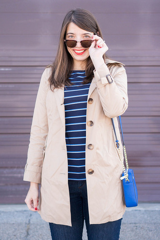 styleontarget blogger coat bag jeans trench coat winter outfits blue bag striped top