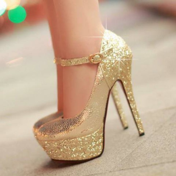 Shoes: heels elegant gold shiny - Wheretoget