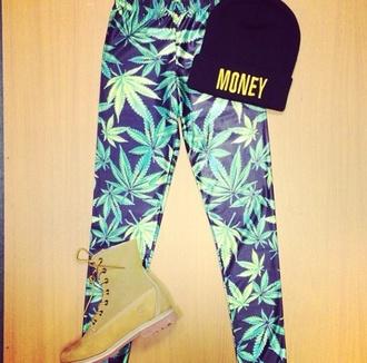 weed leggings pants shoes hat jeans