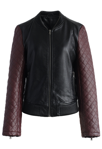 coat quilted sleeves faux leather bomber jacker chicwish faux leather