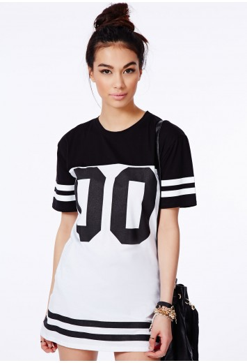 Debbe Monochrome Oversized Baseball T-Shirt Dress - Dresses - T-Shirt Dresses - Missguided
