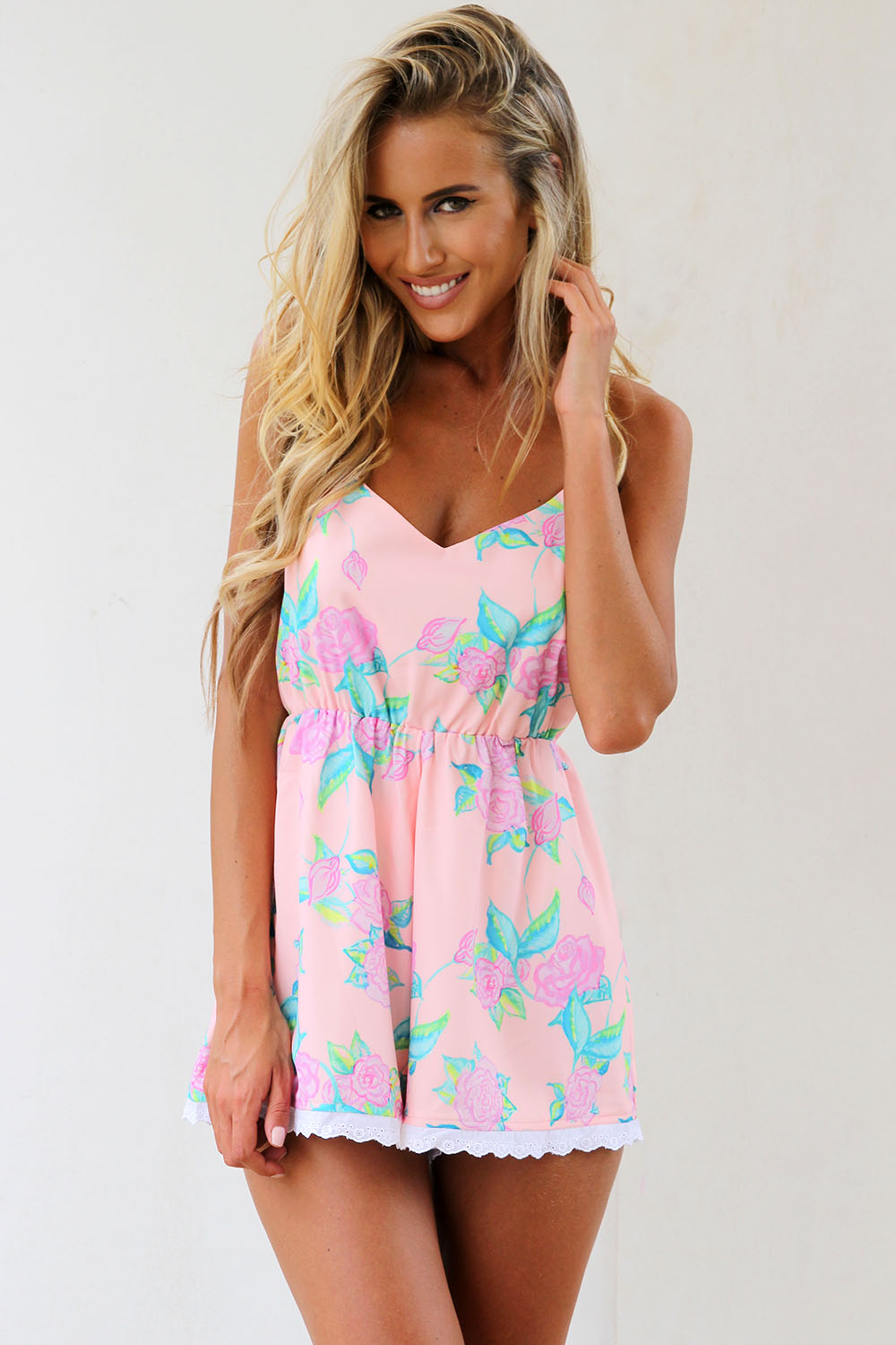 Pink Jump Suits/Rompers - Pink Floral Playsuit with Crisscross   UsTrendy