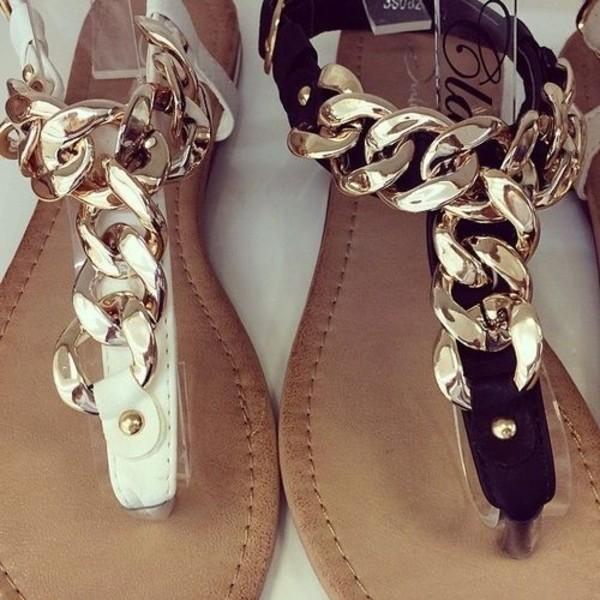 shoes sandals black white gold