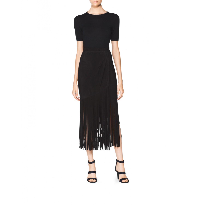 Suede Fringe Skirt - Designer Skirts | Tamara Mellon