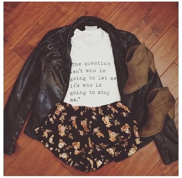 coat leather jacket brown leather jacket t-shirt shorts flowered shorts shoes navy floral shorts. shirt