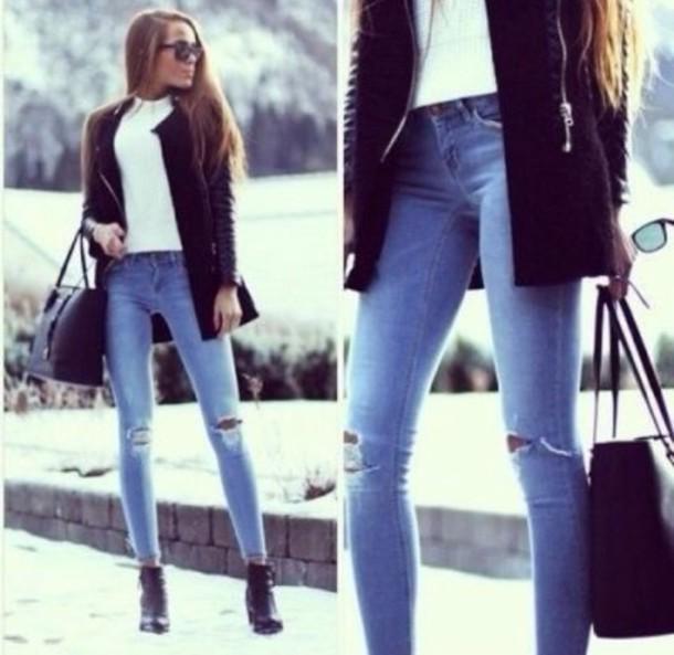 cardigan bag jeans shoes