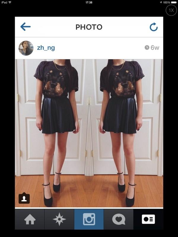 t-shirt dog dog blouse black cute t-shirt graphic tee rottweiler rottweiler graphic tee tank top crop tops top black top skirt skater skater skirt leather shoes high heels dress