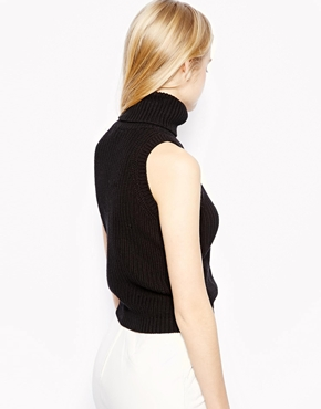 ASOS | ASOS Roll Neck Vest in Chunky Knit at ASOS