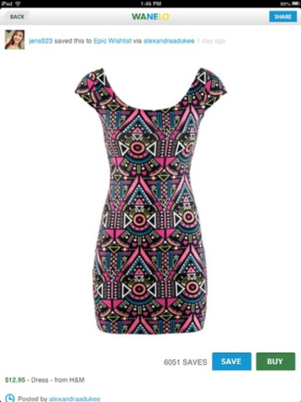 dress aztec colorful neon
