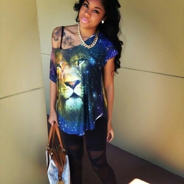 blouse galaxy print lion shirt cute style fashion outfit pretty gold chain michael kors