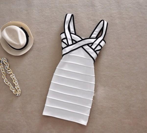 dress white dress black trim