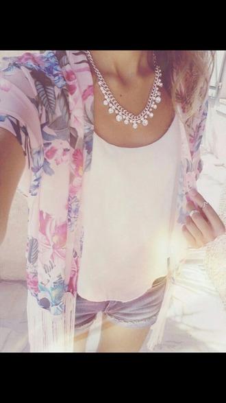 jacket pastel kimono floral kimono cardigan girly veste fleur jewels
