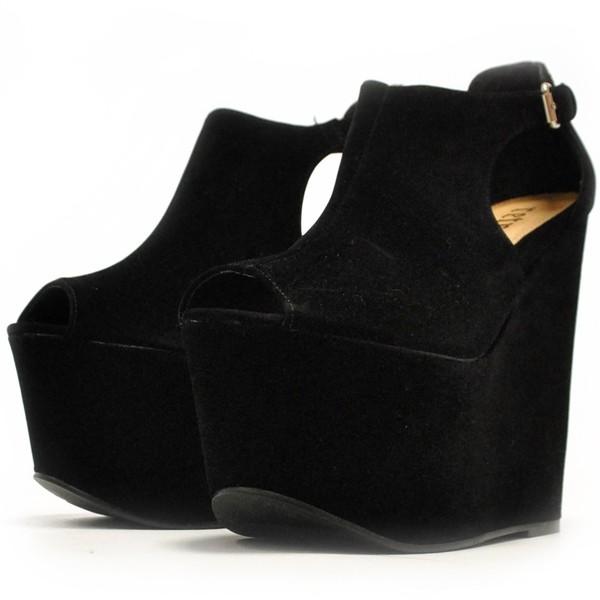 Danika Platform Wedge Sandals in Black - Polyvore