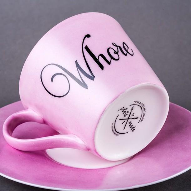 home accessory pink mug whore mug pink girly galentines day bitch